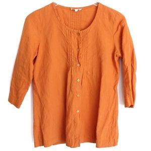 Eileen Fisher PP Petite Orange Organic Linen Top